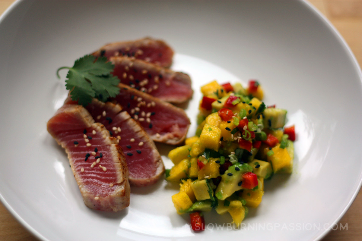 Sushi Style Seared Ahi Tuna with Mango-Avocado Salsa
