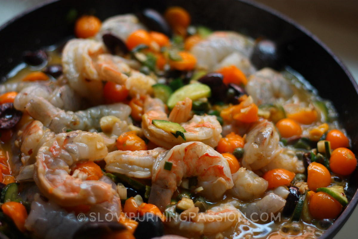 Shrimp With Chunky Cherry Tomato Puttanesca Sauce Recipe ...