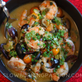 A Bowl of Shrimp-and-Cherry-Tomato-Puttanesca