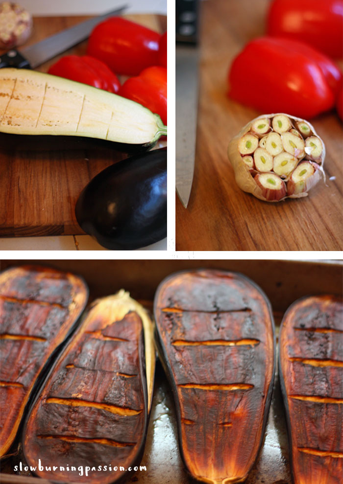 Roasting-Red-Peppers-Garlic-and-Eggplant-for-Ajvar Eggplant Roasted Pepper Spread
