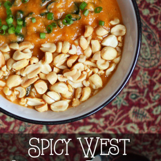 Spicy West African Peanut Soup with Butternut Squash and Kale