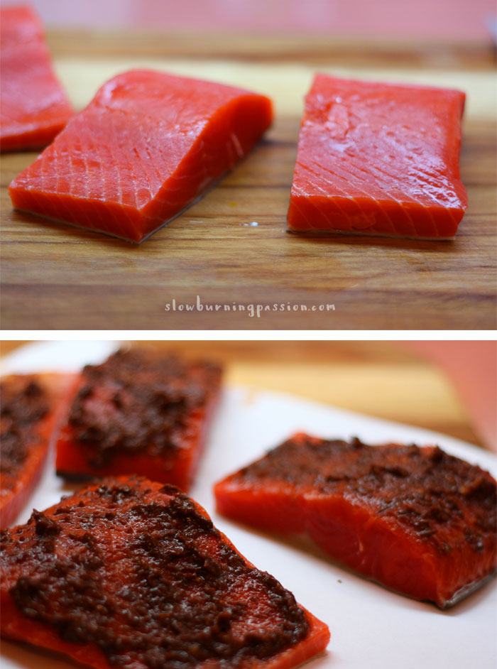 Harissa Maple Glazed Salmon prepared and ready for pan
