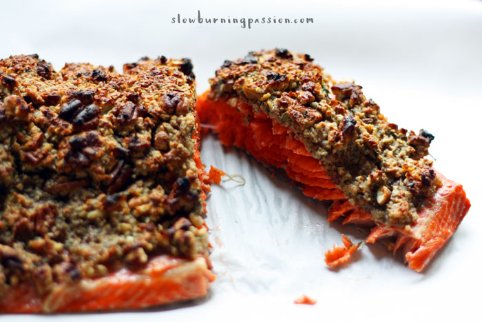 This oven baked Pecan Crusted Salmon is full of maple-Dijon ..
