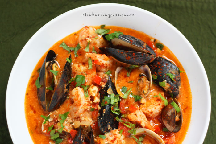 Zarzuela de Mariscos is this insane, over-the-top amazing shellfish stew from the Catalan coastal region of Spain. Have you ever had it? Oh. My. God! I realize full well how hyperbolic it sounds to say so, but I think it may well be the best seafood stew on planet earth.