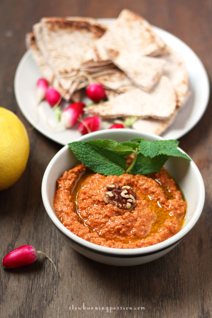 If you don't have a Muhammara recipe yet, you really ought to. This classic walnut and roasted red pepper dip from Aleppo is addictively delicious. Spread it on sandwiches, use it as a sauce for fish or chicken, or eat is as a dip for vegetables or bread.