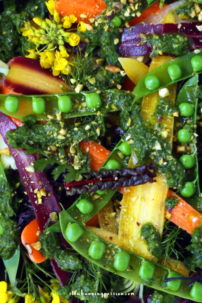 ... peas and carrot salad takes full advantage of this spring bounty. It