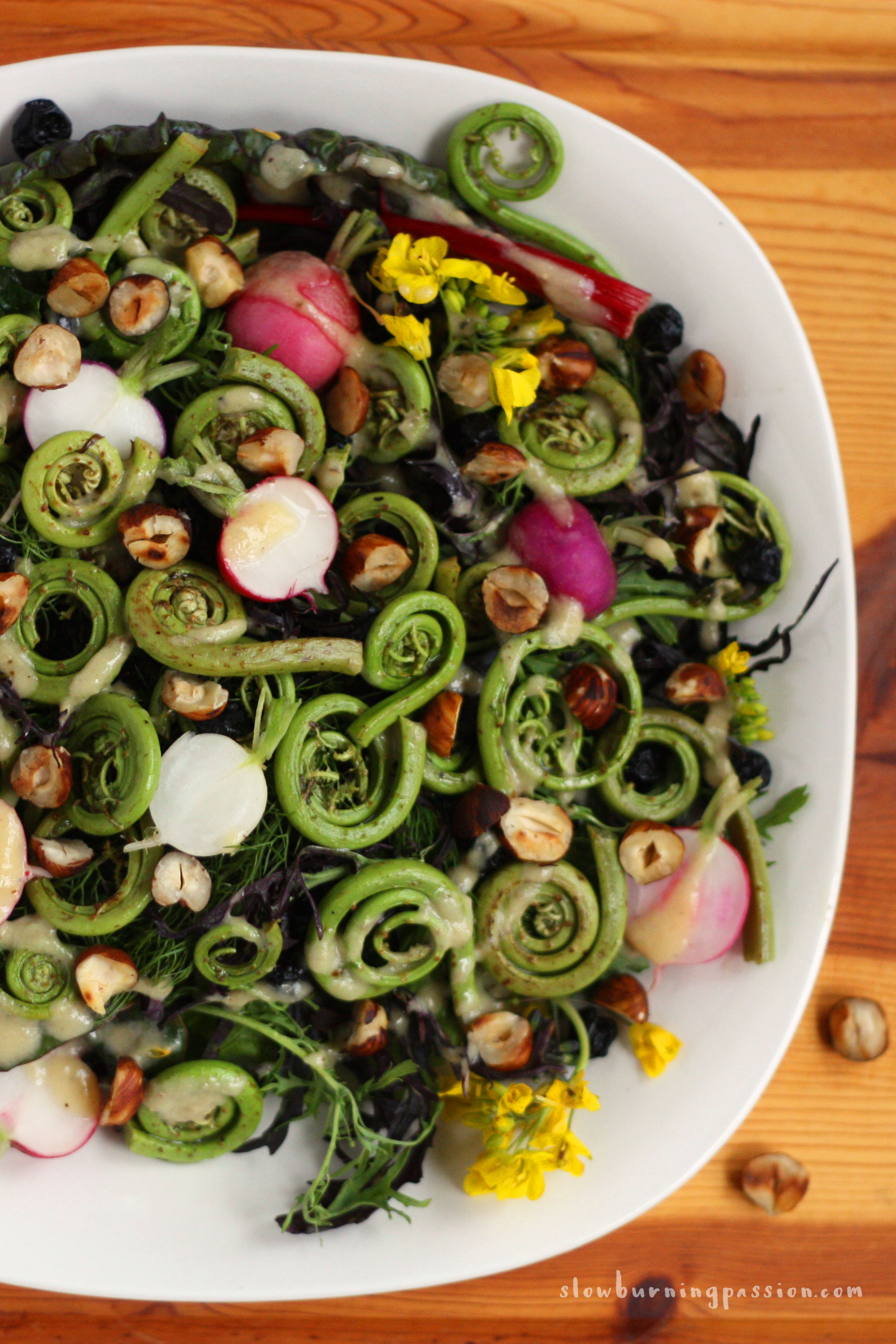 Food 1 2016 3 25 Spring Salad >> How To Make A Spring Green Fiddlehead Fern Salad