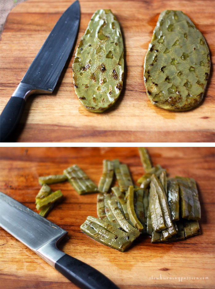 Cooked nopal cactus pads and slided nopales.