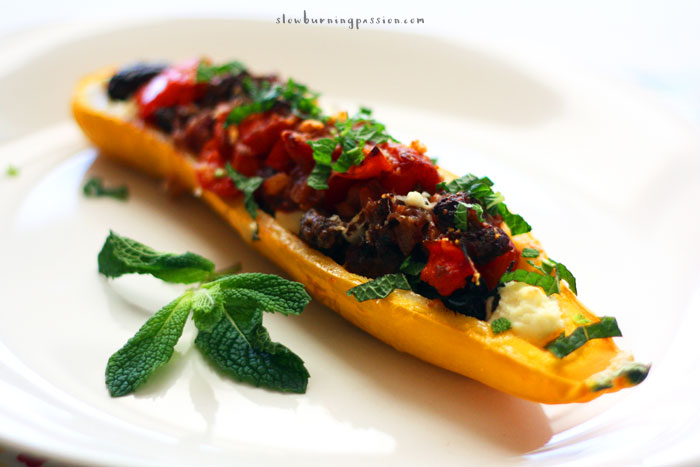zucchini recipe features ground lamb, red pepper, tomato, and feta ...
