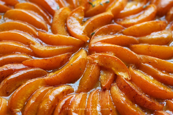 Apricot tart close up. The recipe is simple.