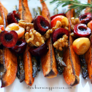 Roasted sweet potato wedges are healthy, delicious, and super easy to make. This savory-sweet version pairs rosemary-garlic with a cherry-walnut topping.