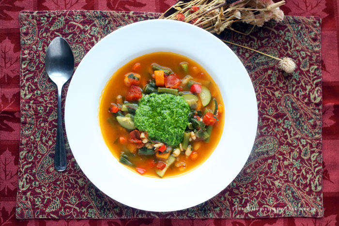 In the Provence region of France they make this bright, flavorful, garlicky, basil-y vegetable bean soup called soupe au pistou, or pistou soup. It's awesome and easy to make.
