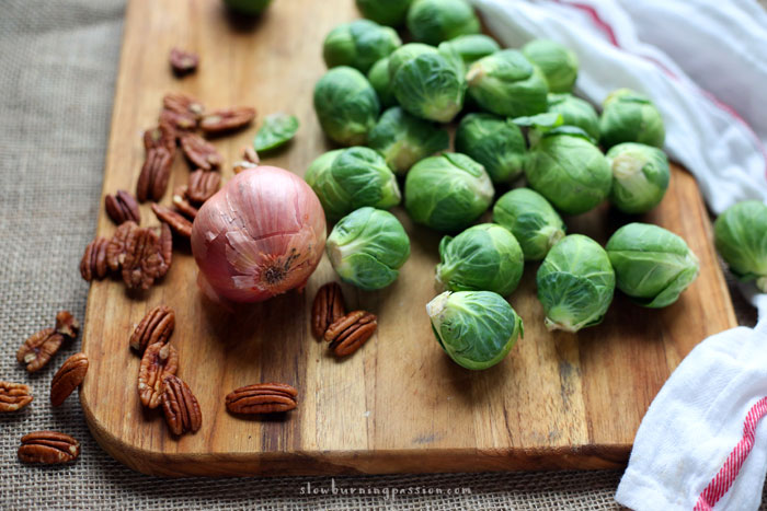 Shallots, Pecans, Brussels Sprouts