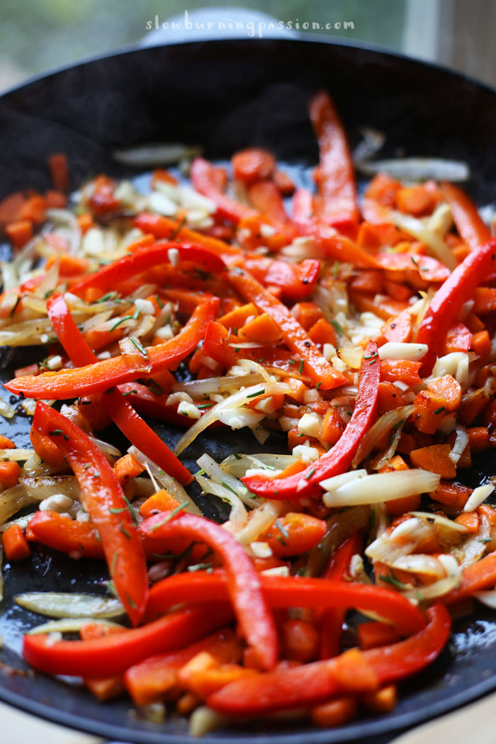 Sauted onions peppers carrots.