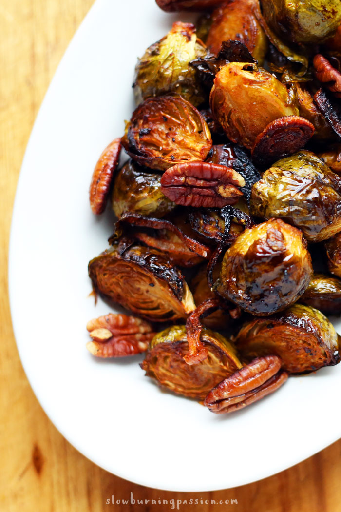 Orange Sriracha Brussels Sprouts with Toasted Pecans