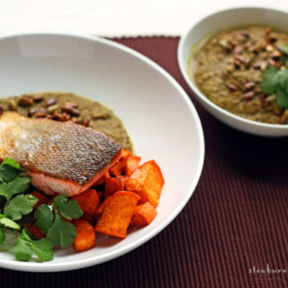 Delicious New Mexico Chili Pipian Verde Sauce with Grilled Salmon