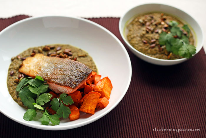 Pepian Verde Sauce with Seared Salmon and Sweet Potatoes.