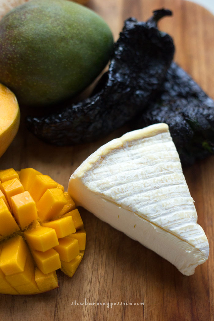 Mangos, brie, and roasted poblano chilies.