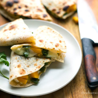 The quesadilla is a pretty diverse vehicle for deliciousness. In this version I've used fresh ripe mango, velvety brie, and roasted poblano chilies to make a very simple but slightly fancy version of a classic.