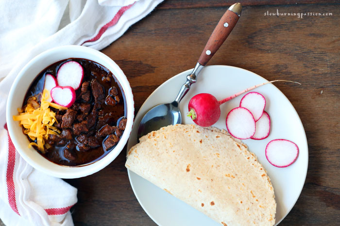Texas Chili with Cheese and Radishes