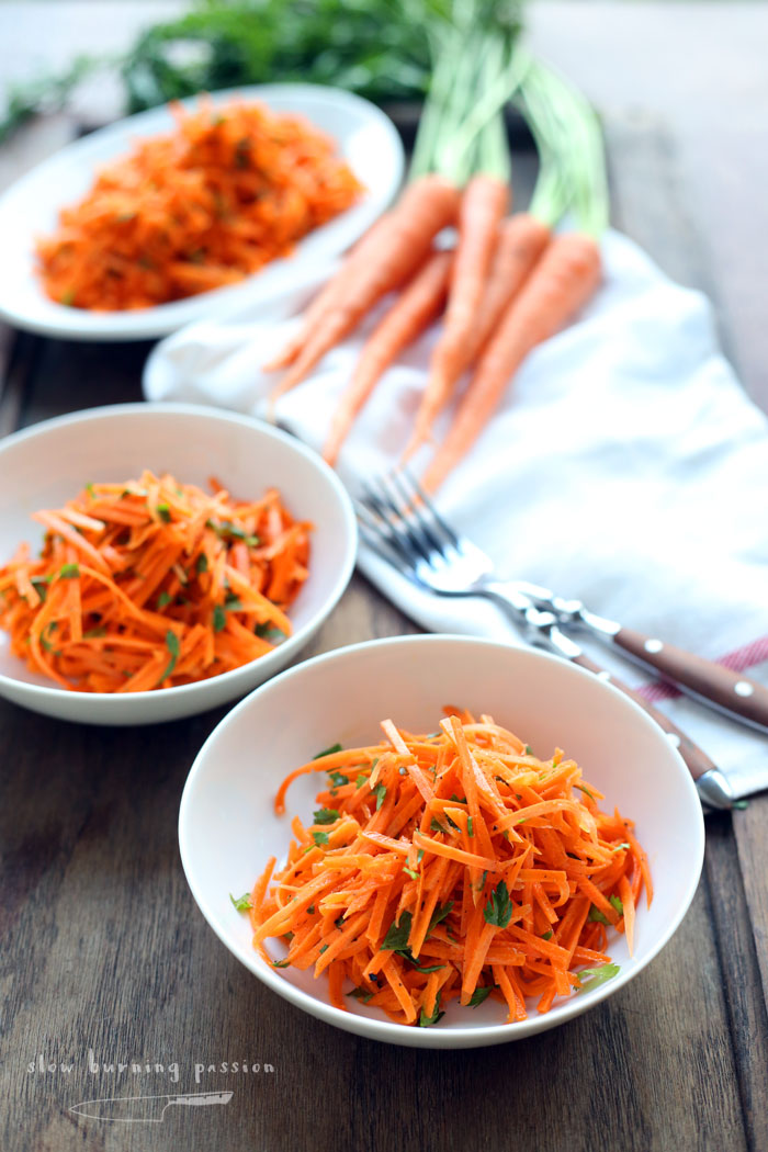 Simple pleasure of french grated carrot salad for American nouveau cuisine