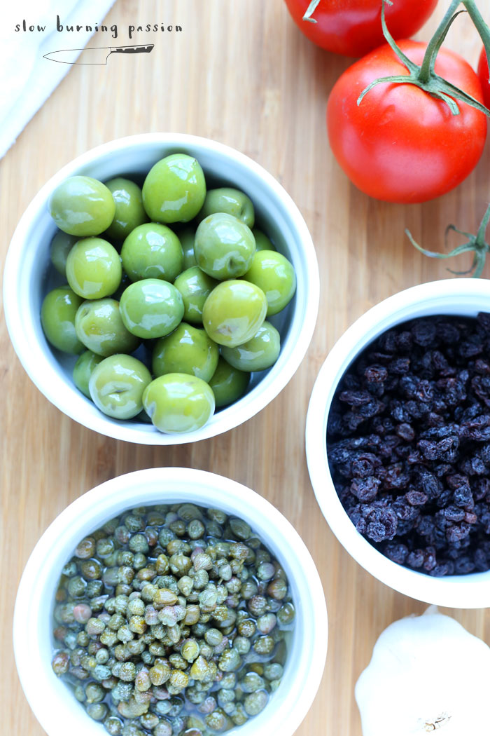 Olives capers and raisins for Veracruz sauce.