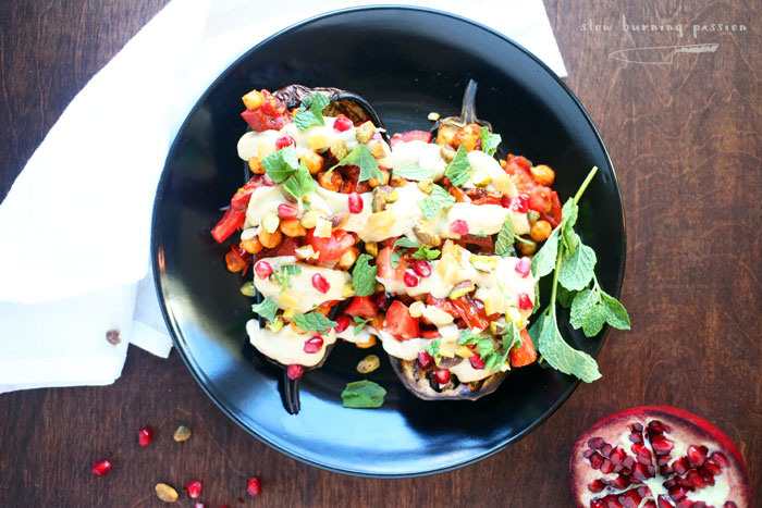 Smoky Mediterranean Stuffed Eggplant loaded with Tunisian Style Flavors