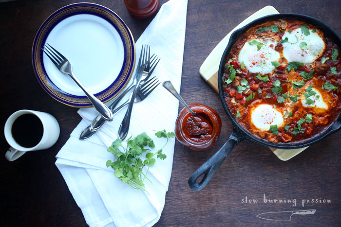 Tunisian Ojja Mergues is eggs and sausage in a spicy sauce